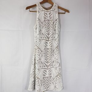 Dress the Population Sequin Dress White Tan Small